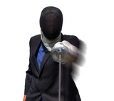 Fencing businessman advancing poster