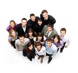 Large group of business people. Over white background poster