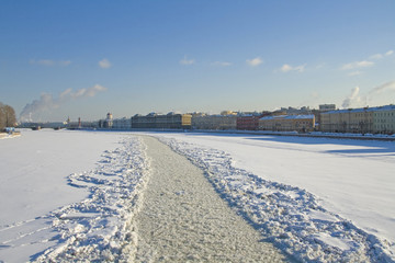 Fairway cleaned by icebreaker on the Neva river