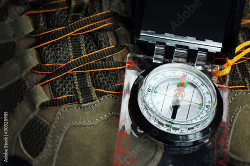 Compass and walking boots