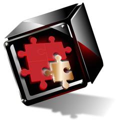 würfel - goldenes puzzleteil
