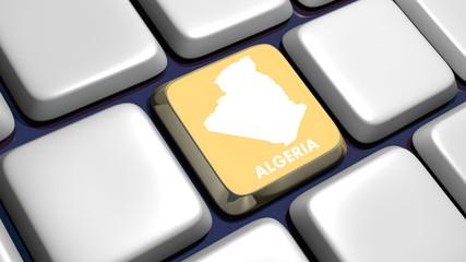 Keyboard (detail) with Algeria map key