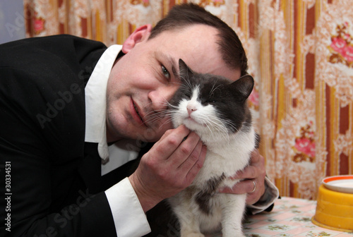 man loves his cat