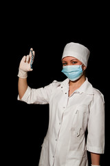 young pretty surgeon holding plate for osteosynthesis