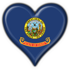 Idaho (USA State) button flag heart shape
