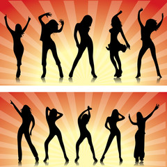 Silhouette femmes dansante