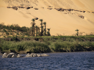 The Sahara desert meeting the River Nile at Aswan Eygpt