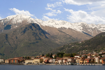 View on Gravedona with Alps, Lake Como, Italy, Europe