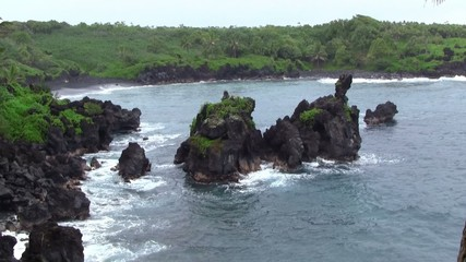 Beautiful Ocean Coastal Rocks by the Sea in Hana Maui Hawaii