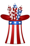 Uncle Sam Hat with Fireworks poster
