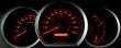 dashboard gauges lit at night