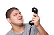 Man Screaming Into the Telephone