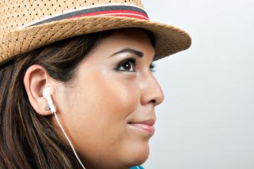 Woman Wearing Earbud Headphones