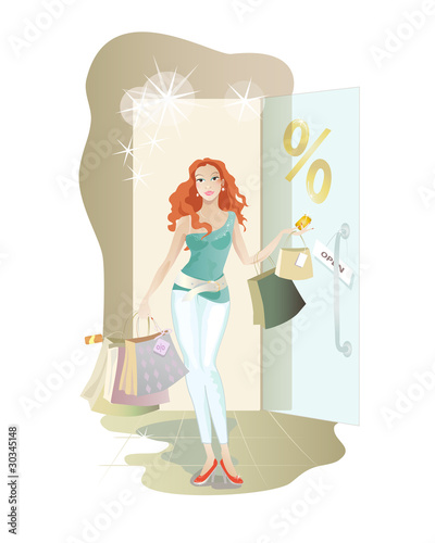 Young redheaded girl makes discount shopping.