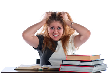 The young student undertook a head after textbook perusal