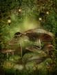 Magiczny las z grzybami i kamieniami