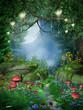 Leinwanddruck Bild - Ścieżka w lesie z lampionami
