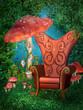 Fotel fantasy wśród grzybów
