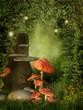 Pień drzewa z grzybami i lampionami