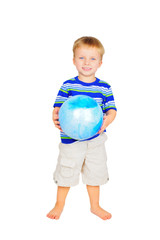 Cute little boy with blue ball