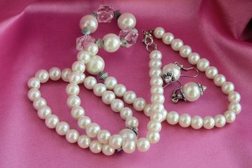 pearls on lily satin