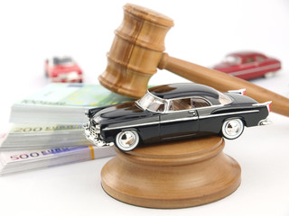 Gavel auction, car and money