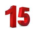 Chiffre 15 3d rouge