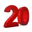 Chiffre 20 3d rouge