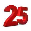Chiffre 25 3d rouge