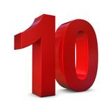 Chiffre 10 3d rouge