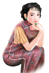 Hand drawing- chinese woman 001