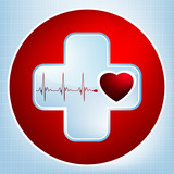 Vector normal ecg red background, heartbeat. EPS 8 poster