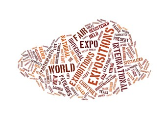 Expo words cloud on white background
