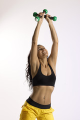 excercising with dumbbells