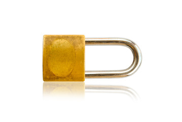 Gold padlock on the white with Shadow.