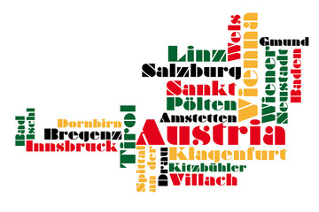 abstract vector map of austria