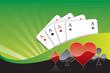 Spielkarten herz, karo, pik, kreuz As grün welle strahlen