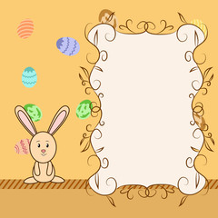 Cartoon greeting card with easter congratulation