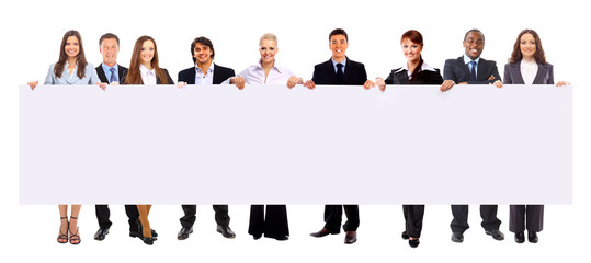 group of business people holding a banner ad isolated