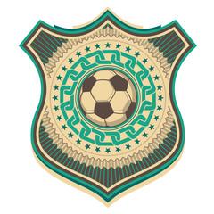 Illustrated retro football crest.