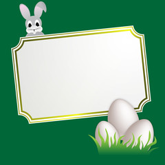 easter banner with rabbit and eggs