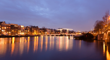 Magere Brug on the Amstel River in Amsterdam