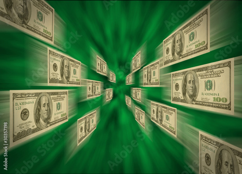 $100 bills flying through a green vortex