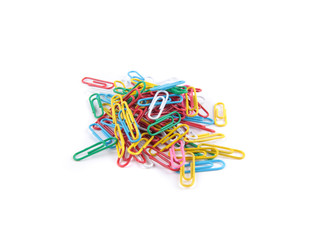 colored paper clips isolated