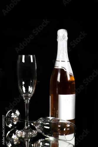 Champagne - bottle and glass