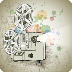 Retro Cinema projector & floral calligraphy ornament - a stylize
