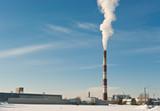 Factory smokestack with smoke polluting air poster