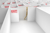 Complicated way out shown by exit signs poster