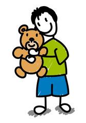 Enfant serrant son ourson dans ses bras