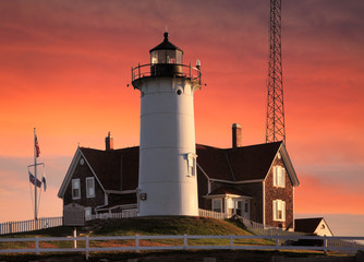 Nobska Point Lighthouse At Sunrise